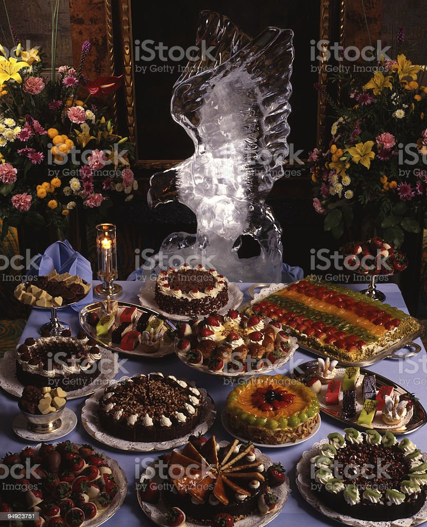 Elegant Spread of Chocolate and other Desserts 4x5 Film stock photo