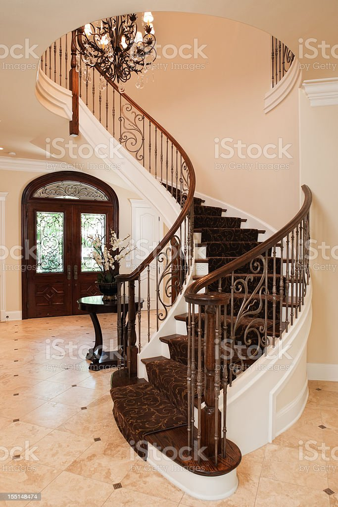 Elegant staircase in an upscale home. stock photo