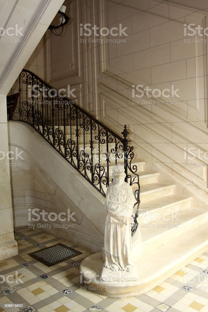 Elegant Stairwell Of An 1800 French Chateau stock photo