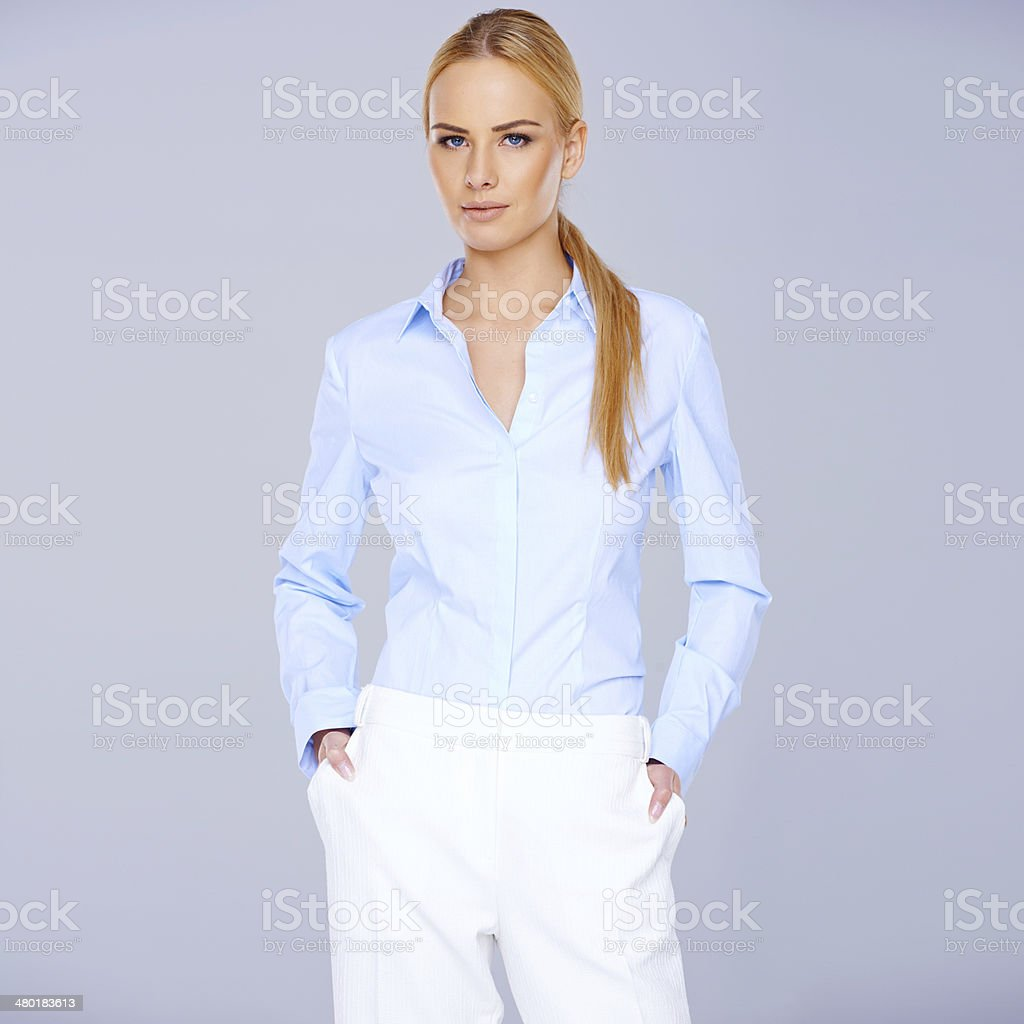 Elegant stylish blond woman in smart casuals royalty-free stock photo