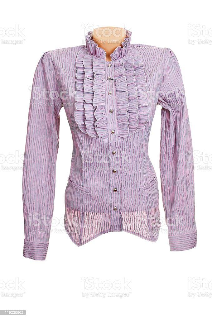Elegant, stylish lilac shirt on a white. stock photo