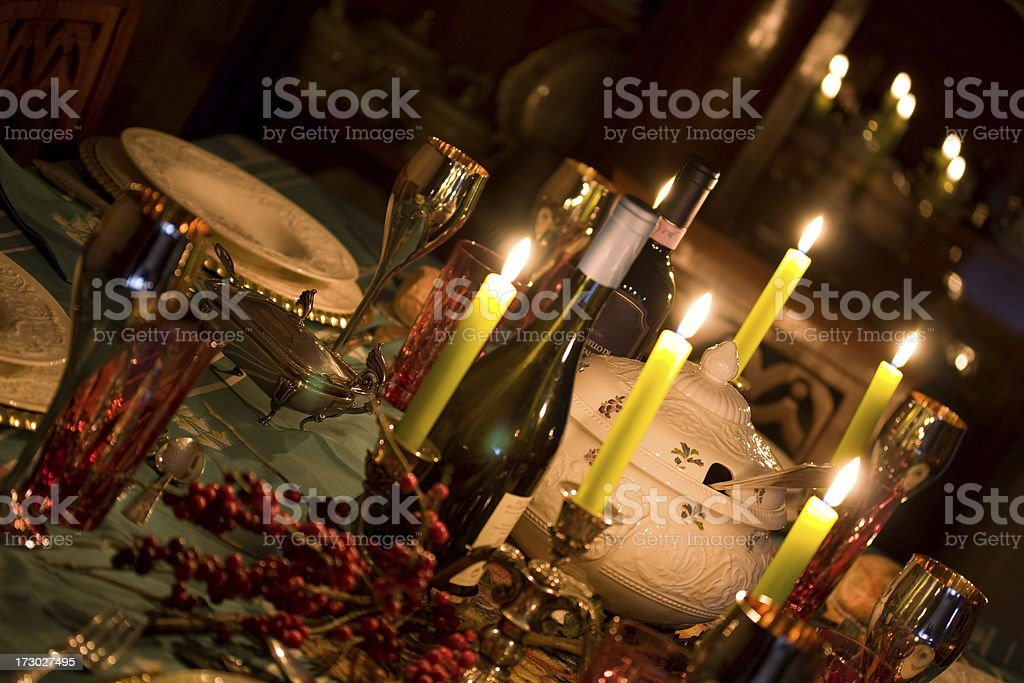 Elegant  table lit by candles royalty-free stock photo