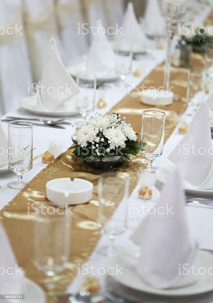 Elegant table set for a dinner stock photo
