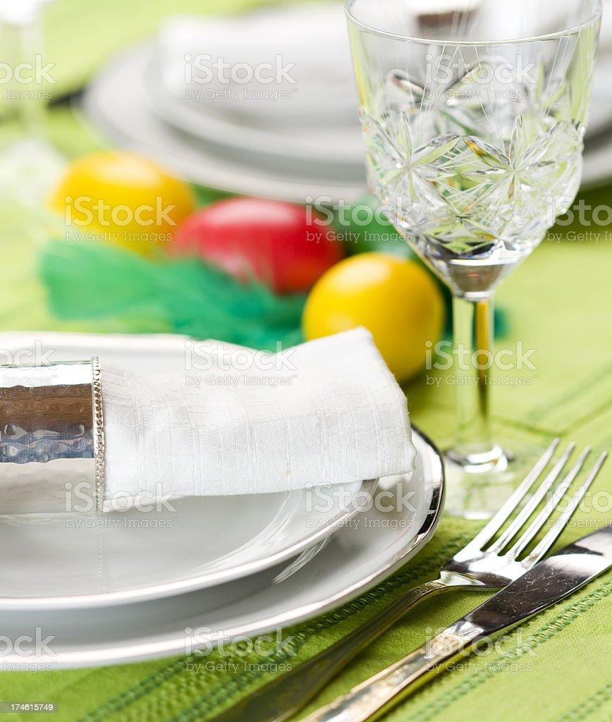 Elegant table set for an easter dinner. royalty-free stock photo