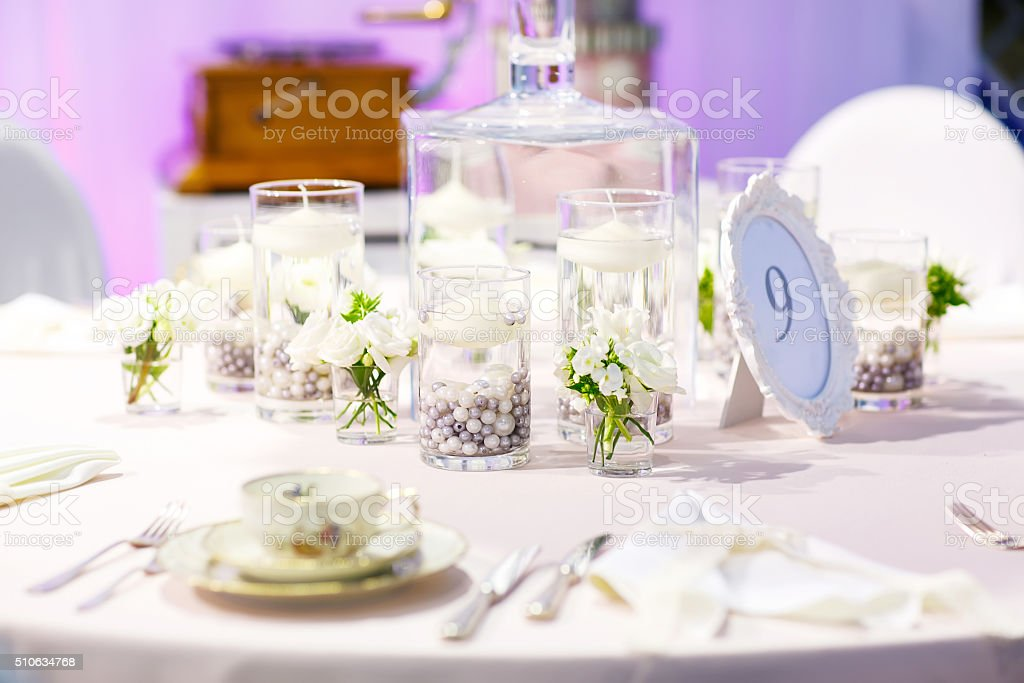 Elegant table set  for wedding or event party in red stock photo
