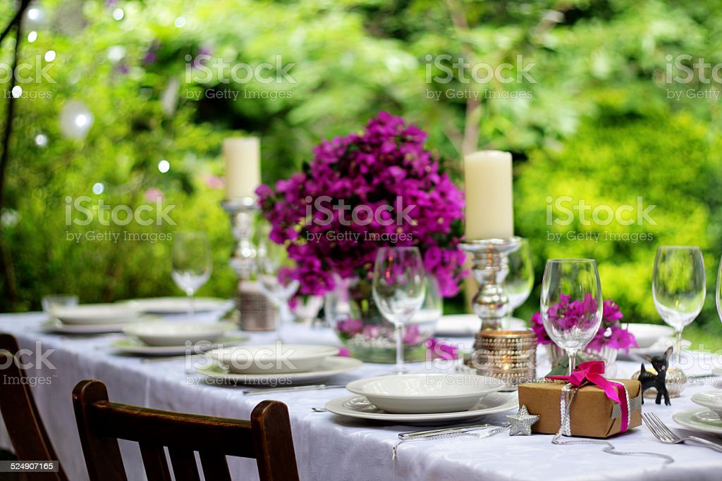 Elegant table setting at the garden at afternoon. stock photo