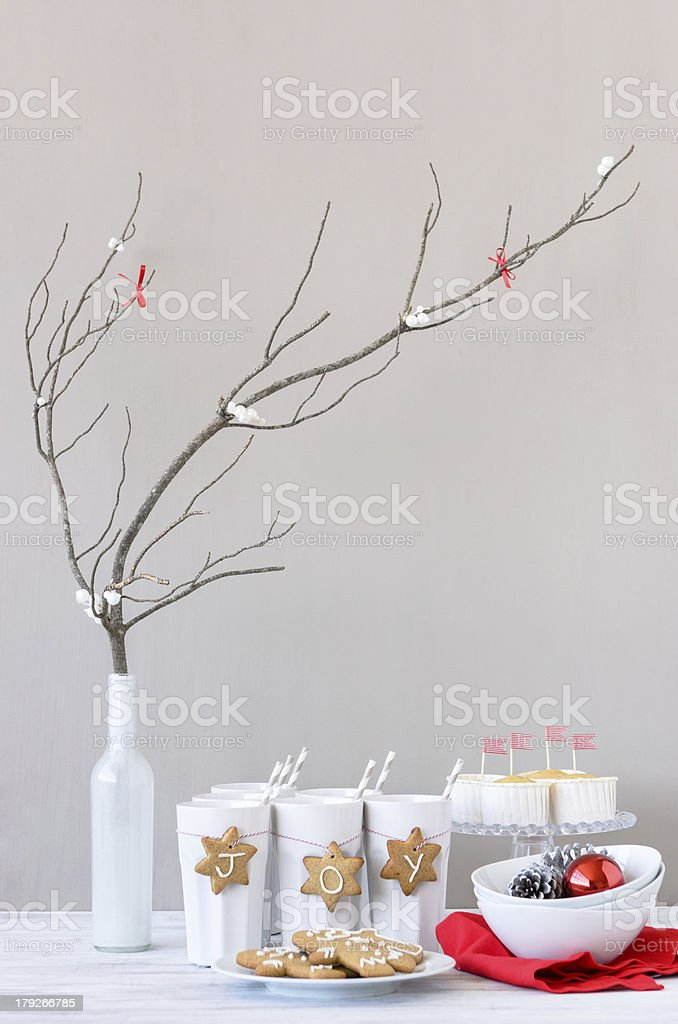 Elegant table setting display for christmas holiday theme royalty-free stock photo