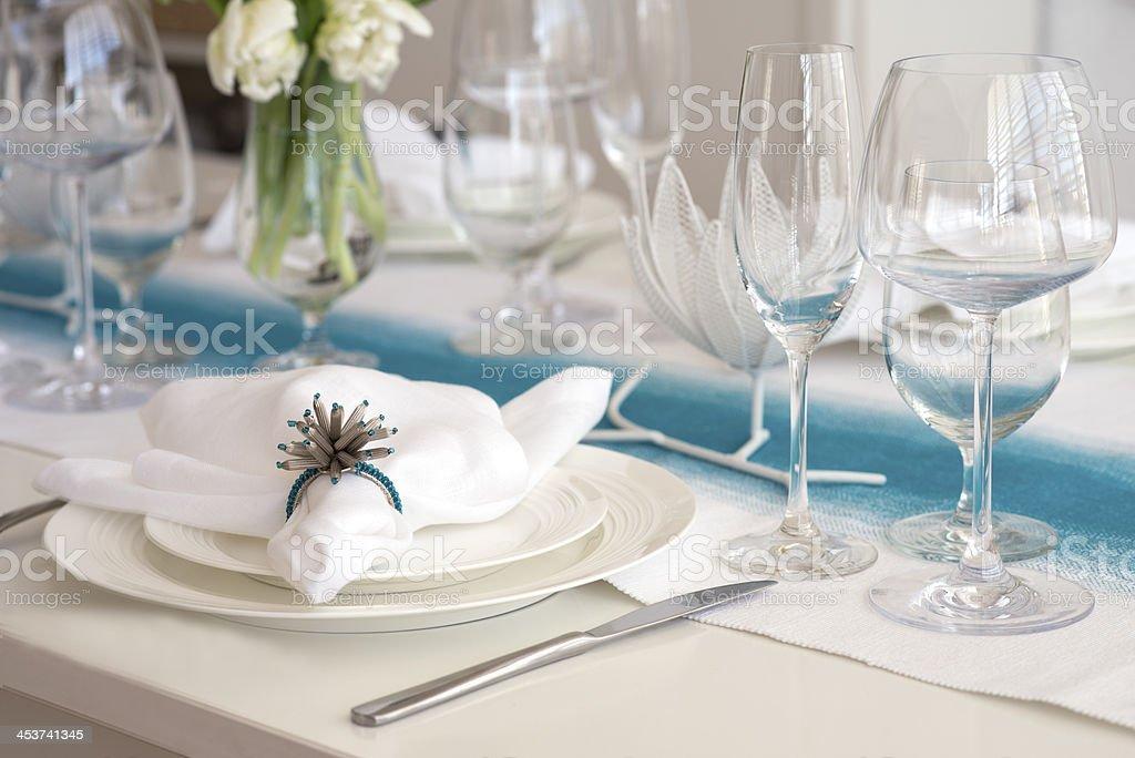 elegant table setting for dinner royalty-free stock photo