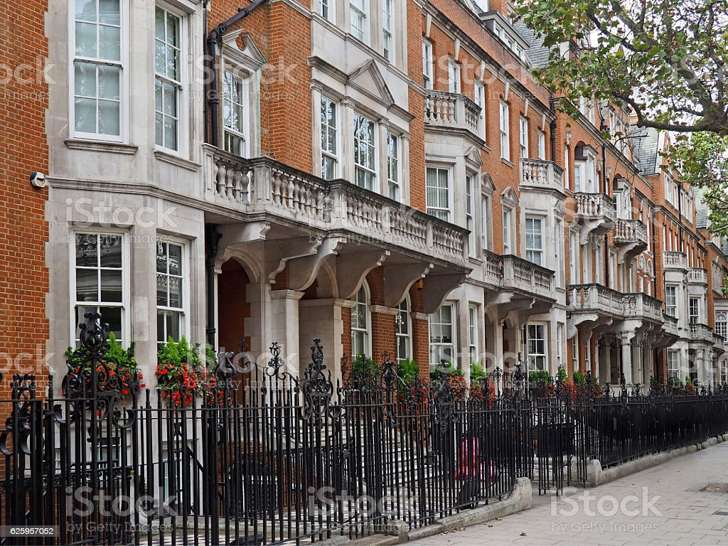 elegant townhouses stock photo