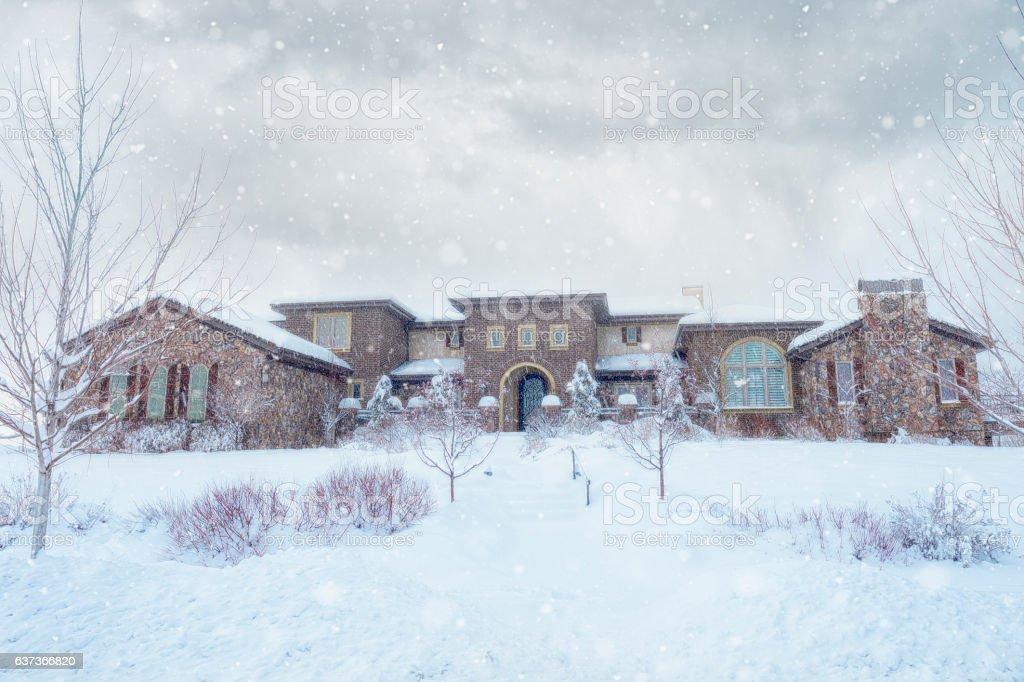 Elegant Tuscan Home In Winter Blizzard stock photo