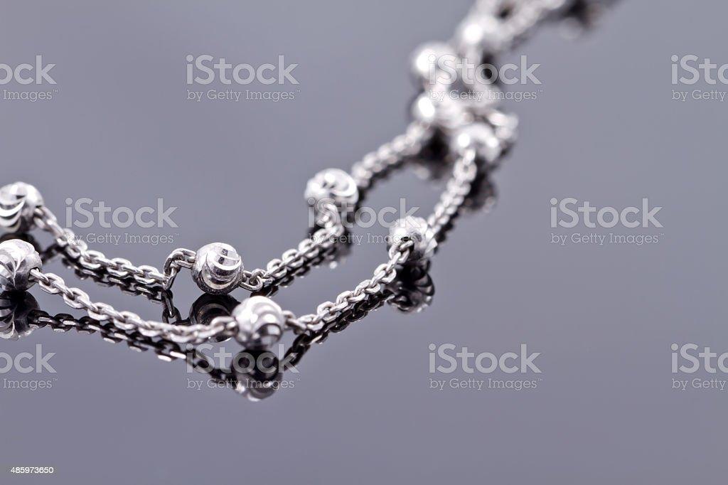 Elegant unusual silver chain stock photo