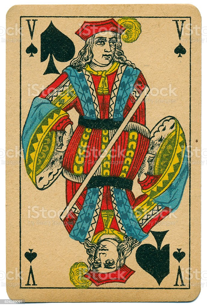 Elegant Valet Jack of Spades Biermans playing card Belgium 1910 stock photo