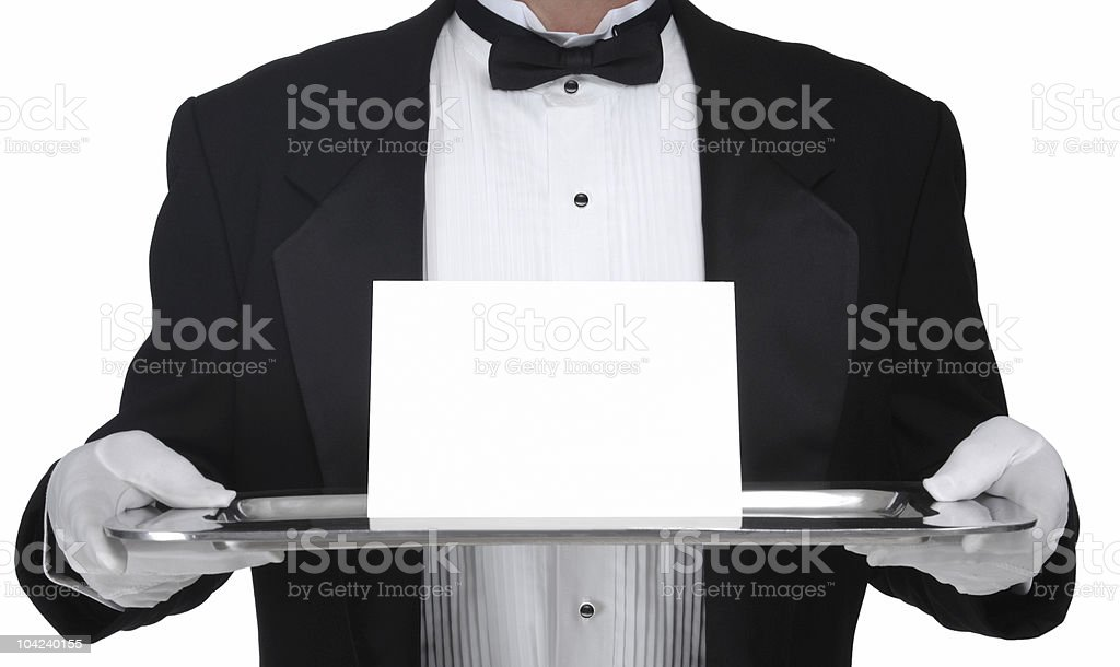 Elegant waiter brings an invitation stock photo