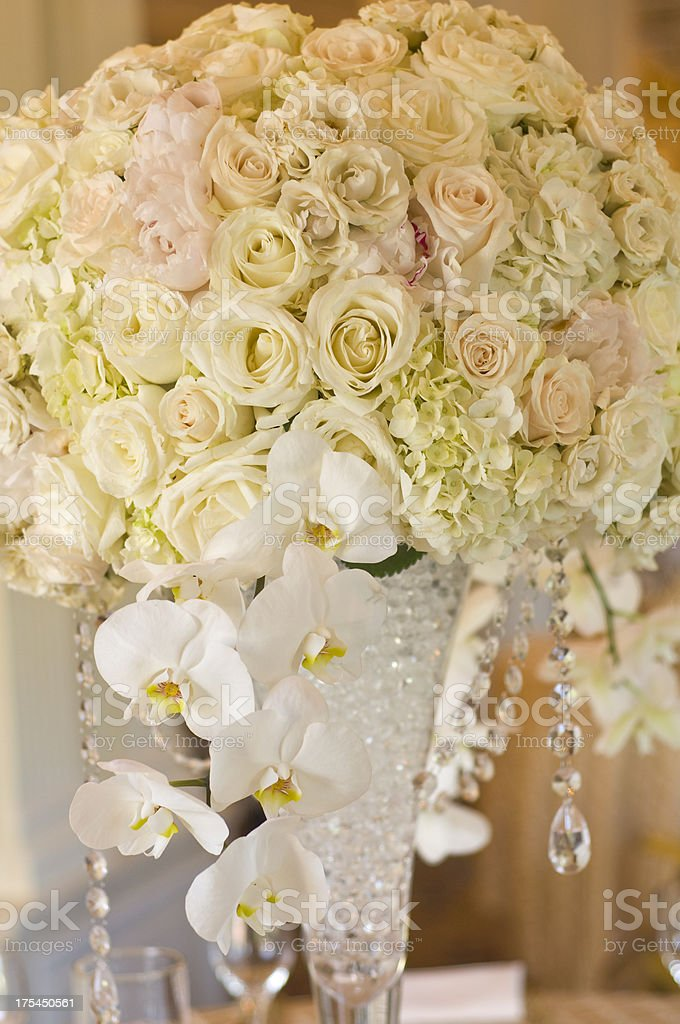 Elegant wedding centerpieces stock photo