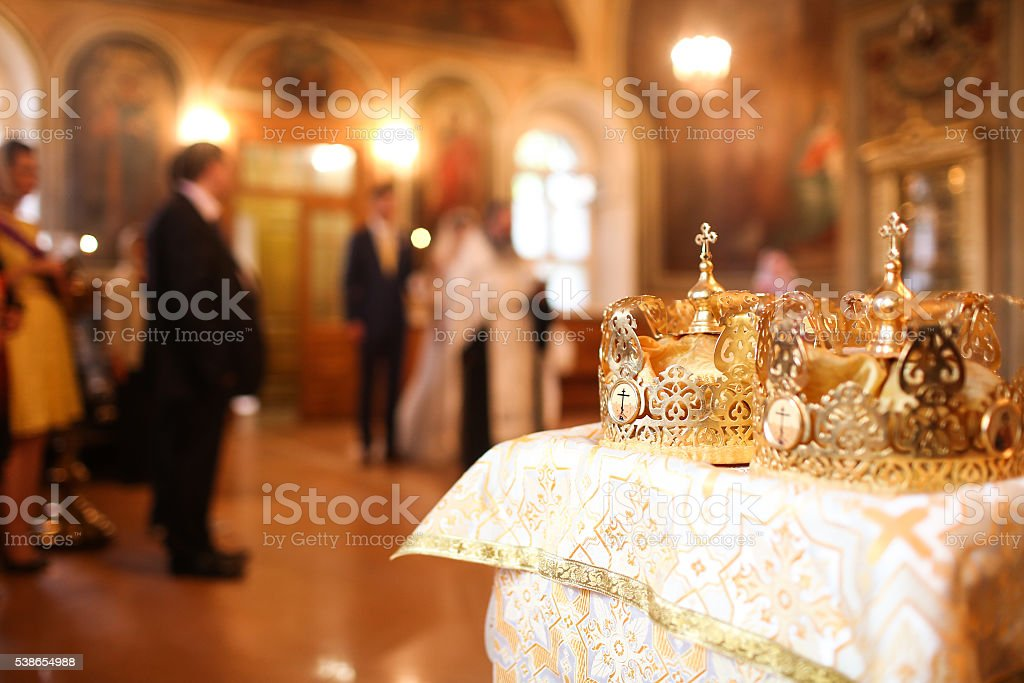 Elegant wedding crown or tiara preparing for marriage in church stock photo