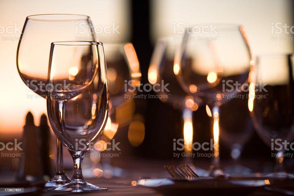 Elegant wine glasses stock photo