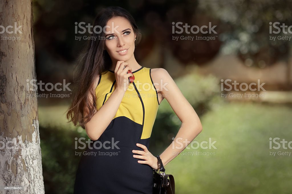 Elegant Woman her Purse and Keys stock photo