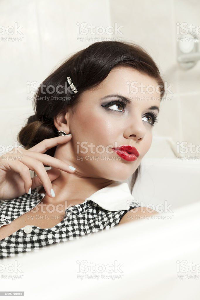 Elegant Woman In Bathtub royalty-free stock photo