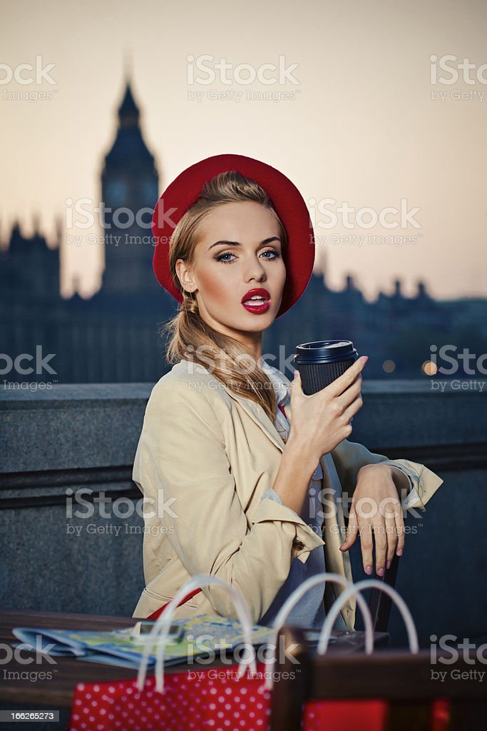 Elegant woman in London stock photo