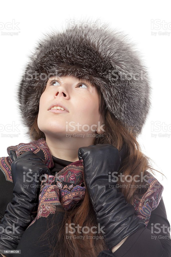 Elegant woman in winter outfit royalty-free stock photo