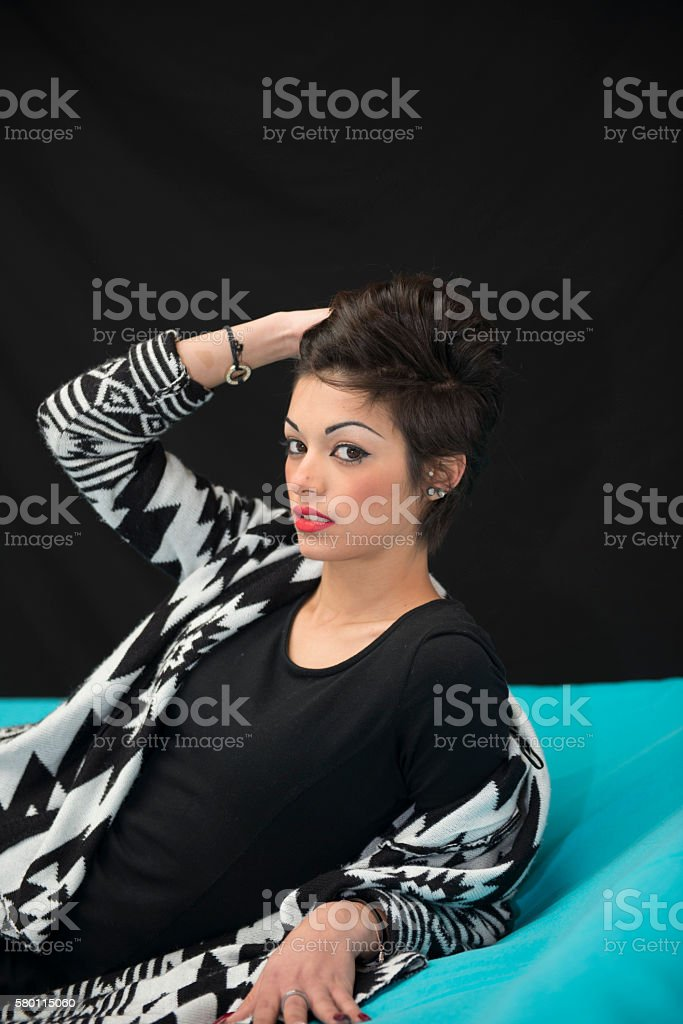 Elegant woman model with makeup and hair stock photo