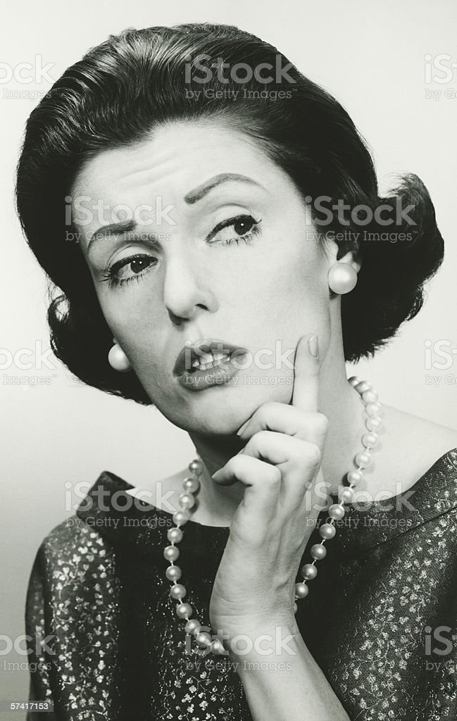 Elegant woman, pondering, (B&W), (Portrait) stock photo