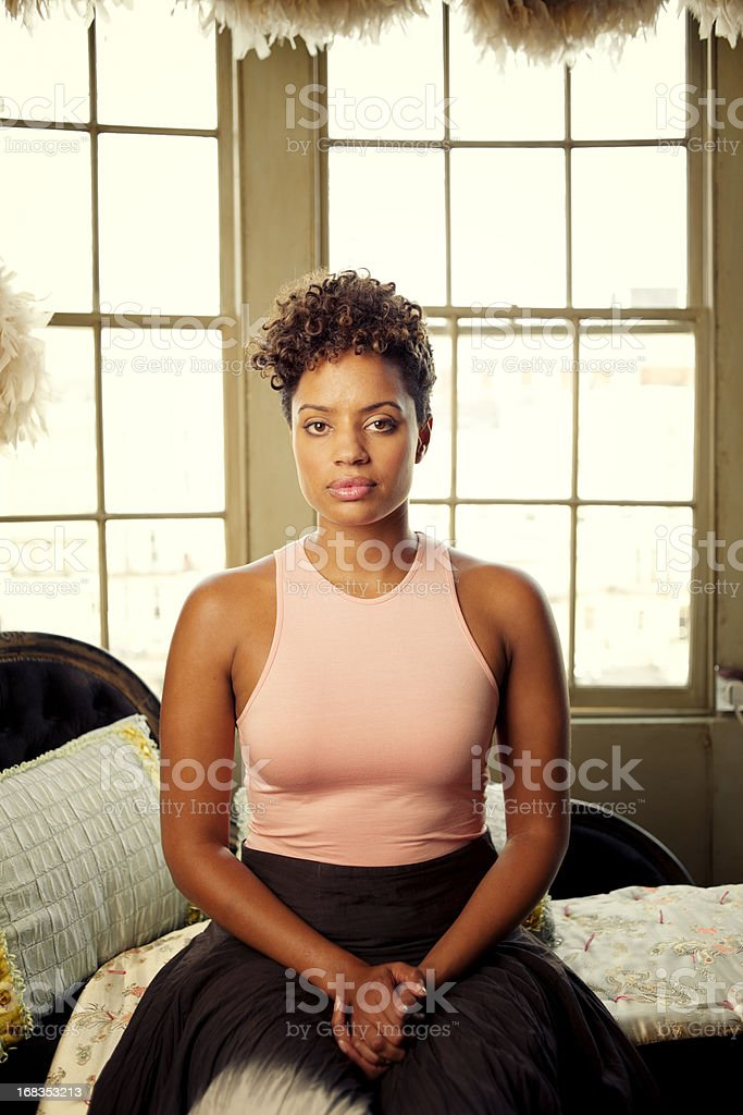 Elegant Woman, Victorian Room Interior stock photo