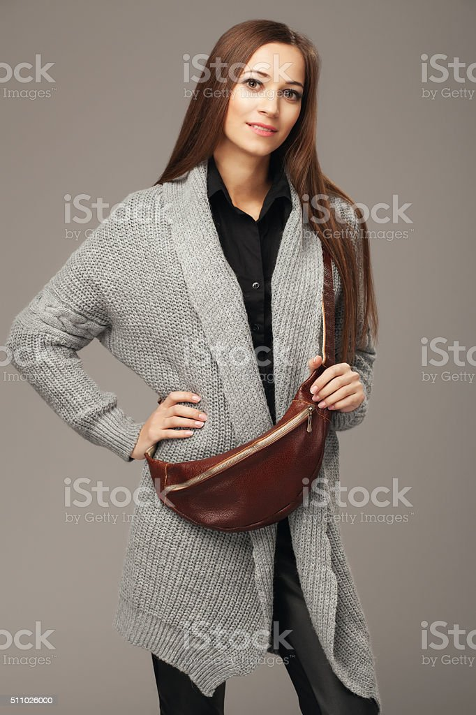 Elegant woman with a fanny pack stock photo