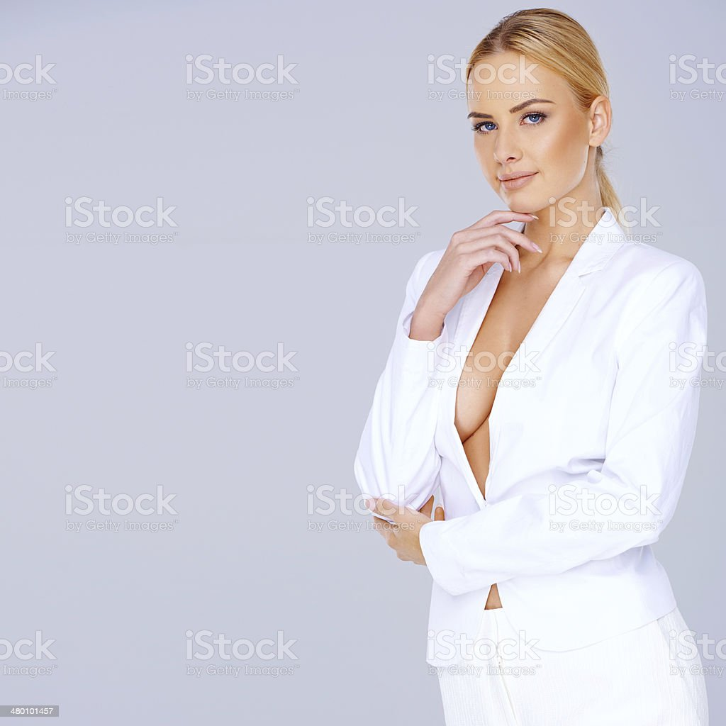 Elegant woman with a plunging neckline royalty-free stock photo