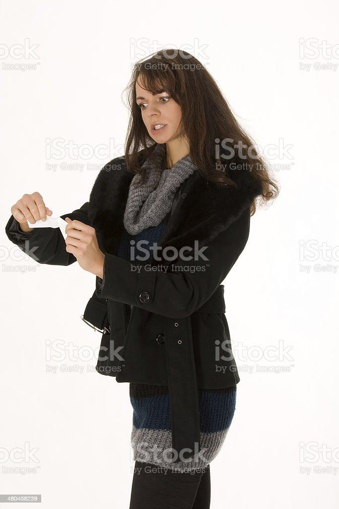 Elegant woman with invoice stock photo