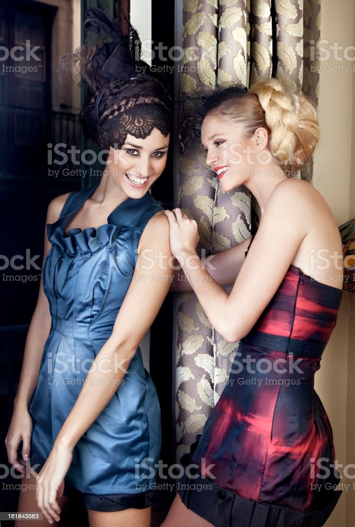 Elegant women having fun at a party royalty-free stock photo