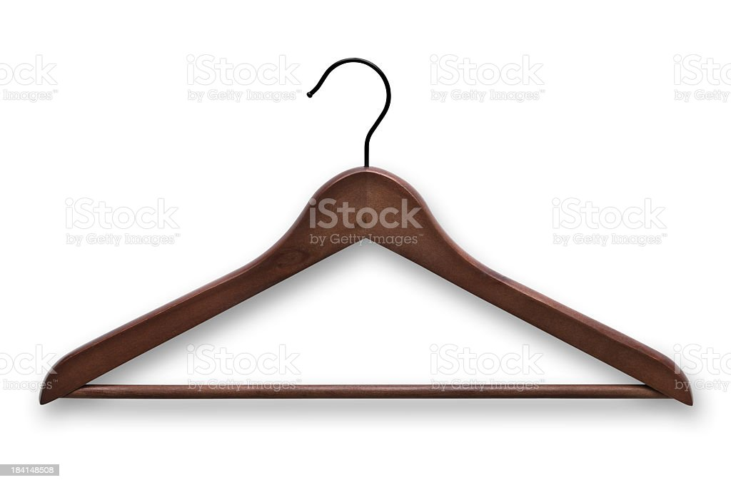 Elegant, wooden, dark brown clothes hanger isolated on white stock photo