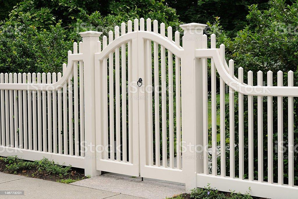 Elegant Wooden Gate stock photo