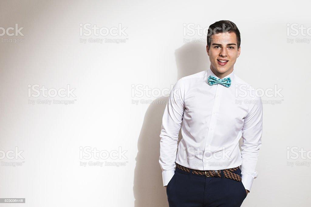 Elegant young handsome man  Studio fashion portrait. Copy space stock photo