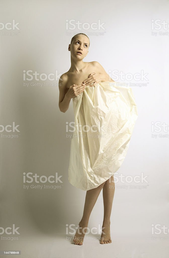 elegante girl with sheet of paper royalty-free stock photo