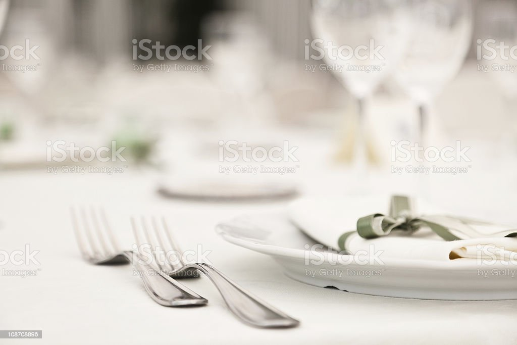 Elegantly decorated table in restaurant stock photo