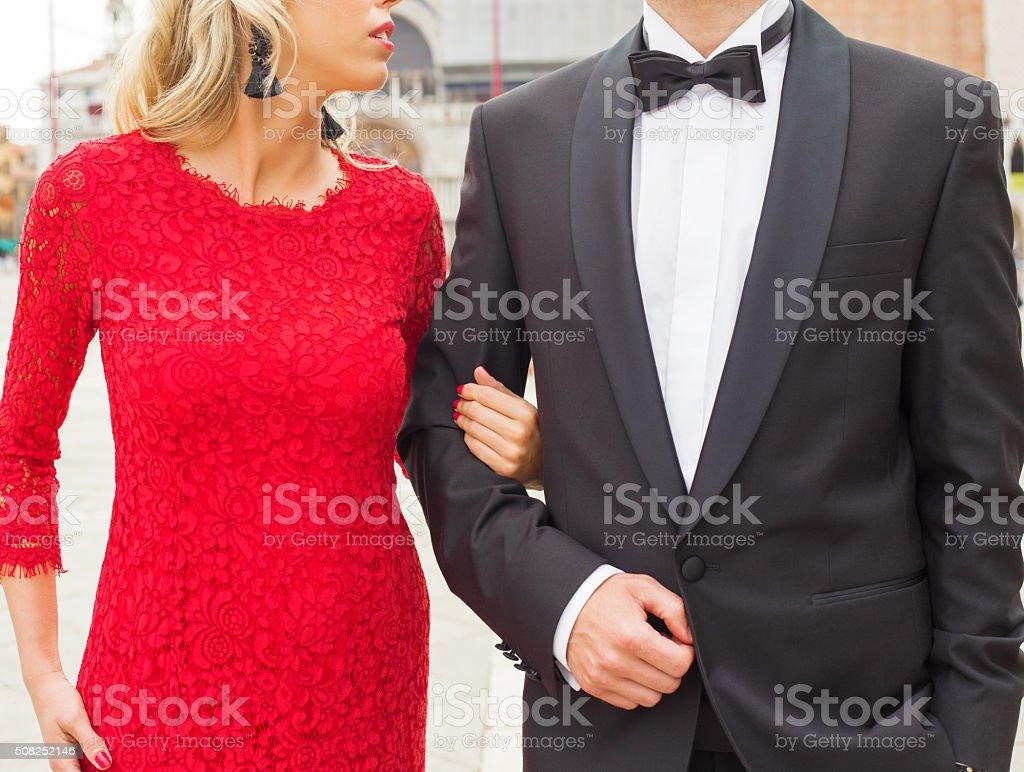 Elegantly dressed couple stock photo