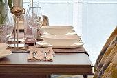 Elegence dining set on wooden table