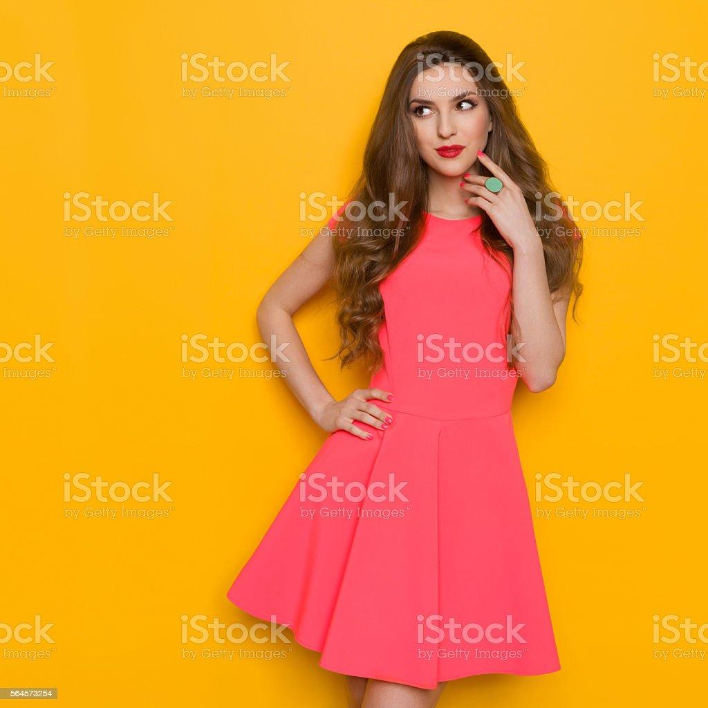 Elegnat Woman Looking Away And Thinking stock photo