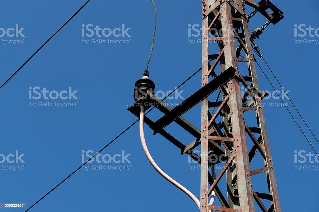 Elektrische Oberleitung stock photo