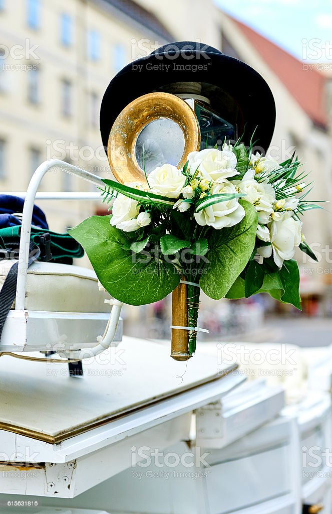 Element of a horse-drawn wedding carriage stock photo