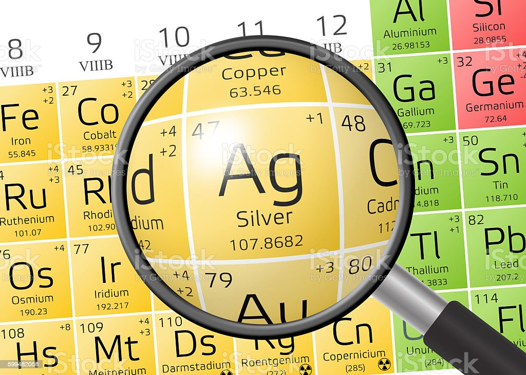 Element of Argentum or Silver with magnifying glass stock photo