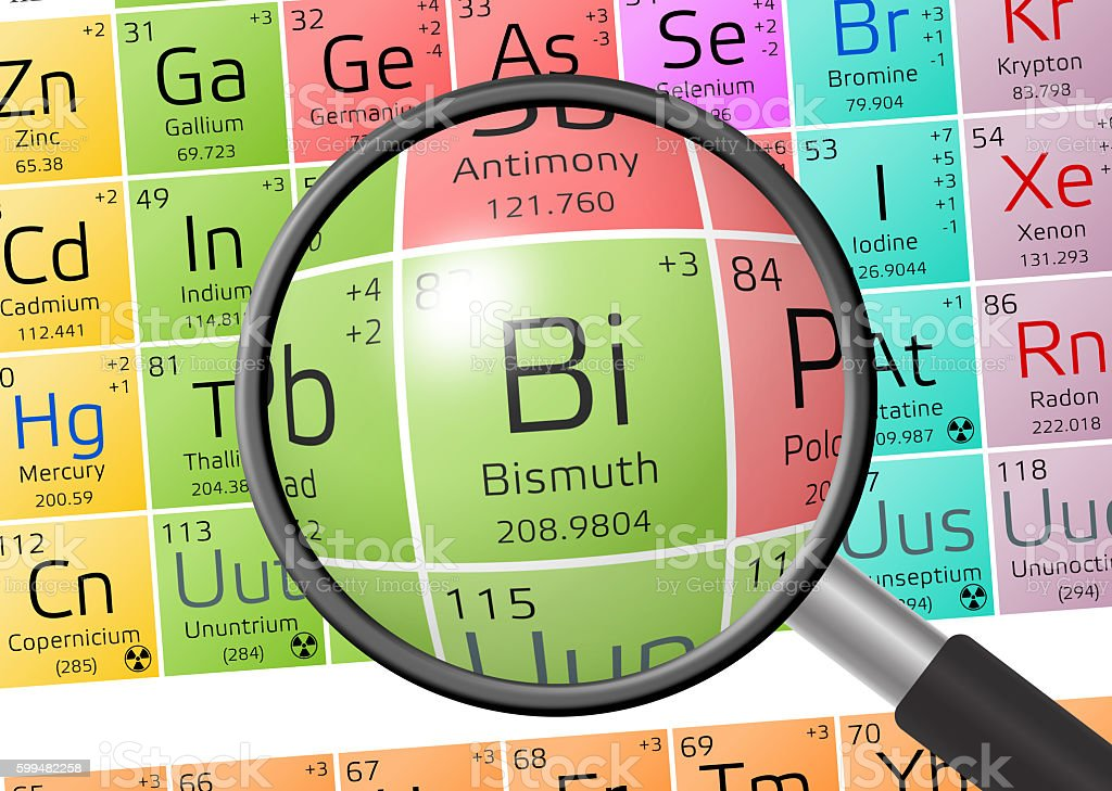 Element of Bismuth with magnifying glass stock photo
