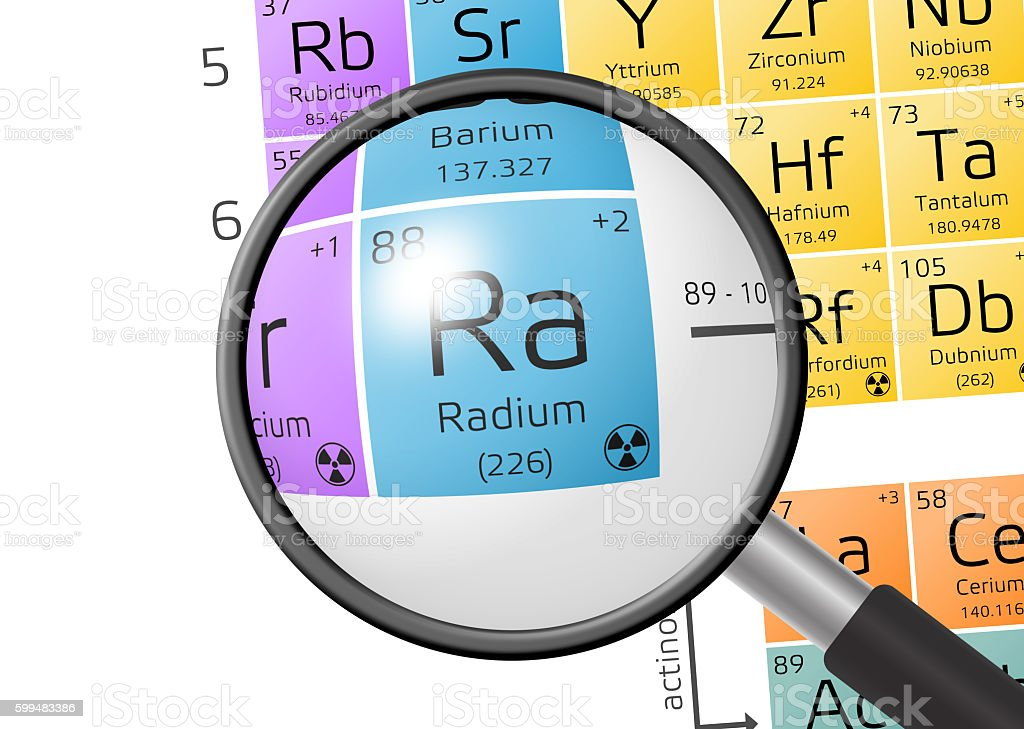 Element of Radium with magnifying glass stock photo