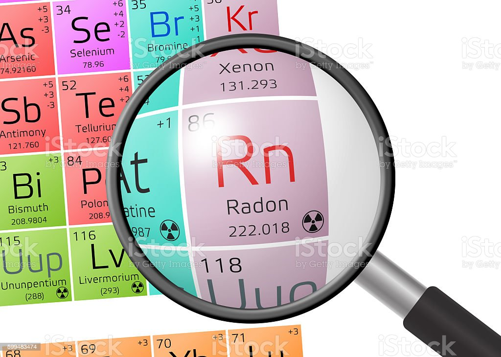 Element of Radon with magnifying glass stock photo