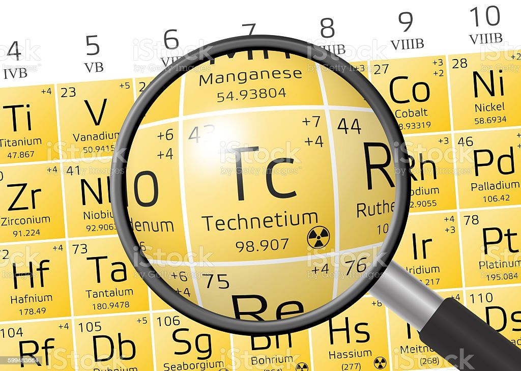 Element of Technetium with magnifying glass stock photo