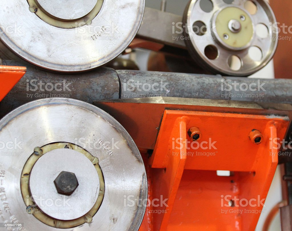Element of the production line with the inductor stock photo