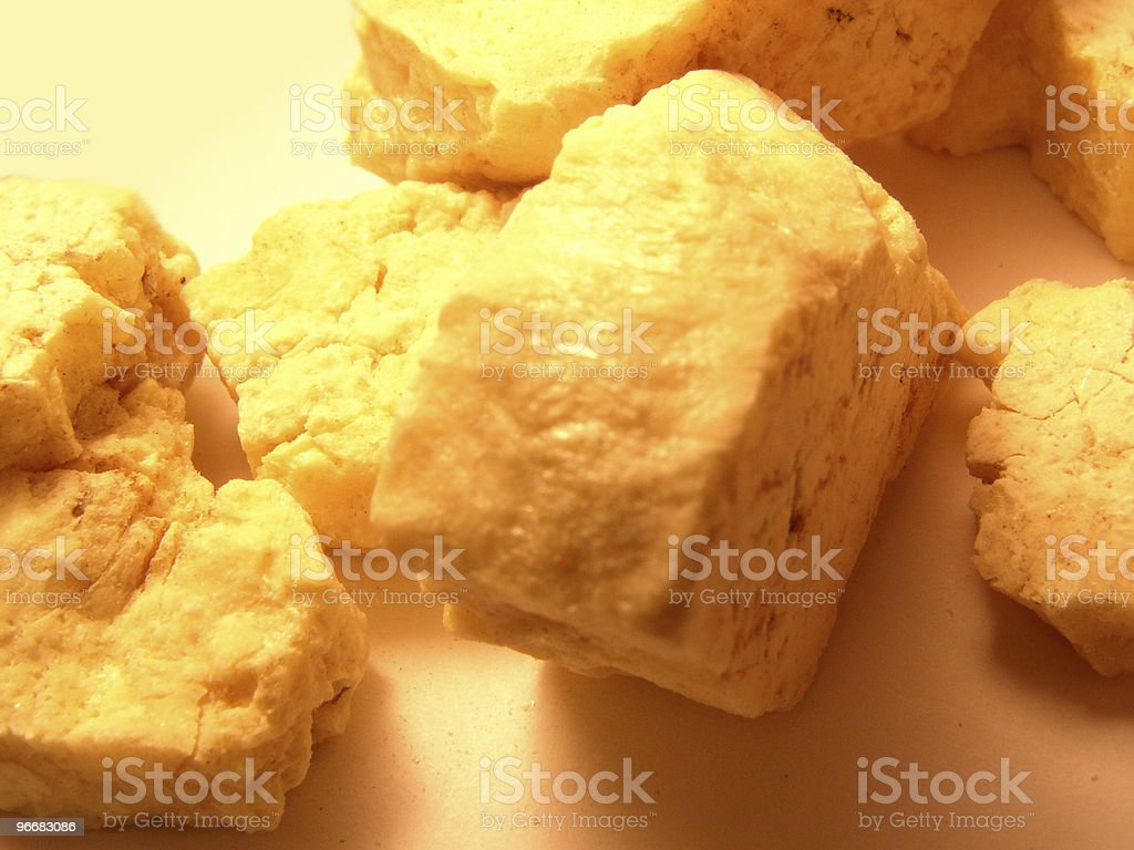 Elemental Sulfur from Gold smelter stock photo