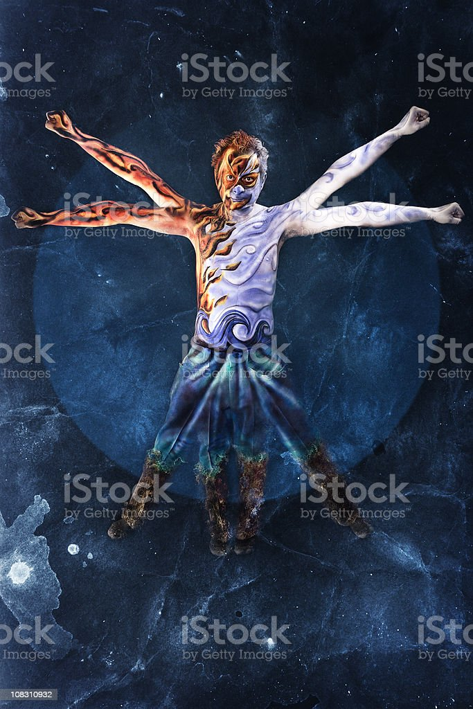 Elemental Vitruvian Man stock photo