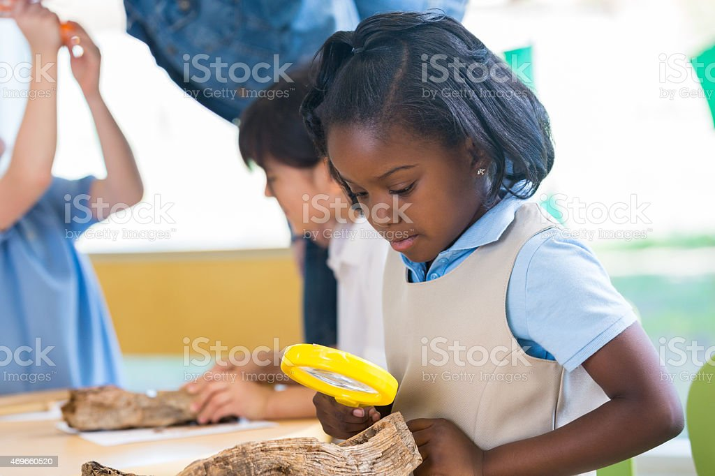 Elementary African American girl using magnifying glass in science class stock photo